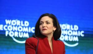 Sheryl Sandberg, billionaire and chief operating officer of Facebook Inc., speaks during a session on day two of the World Economic Forum (WEF) in Davos, Switzerland, on Thursday, Jan. 22, 2015. World leaders, influential executives, bankers and policy makers attend the 45th annual meeting of the World Economic Forum in Davos from Jan. 21-24. Photographer: Chris Ratcliffe/Bloomberg via Getty Images